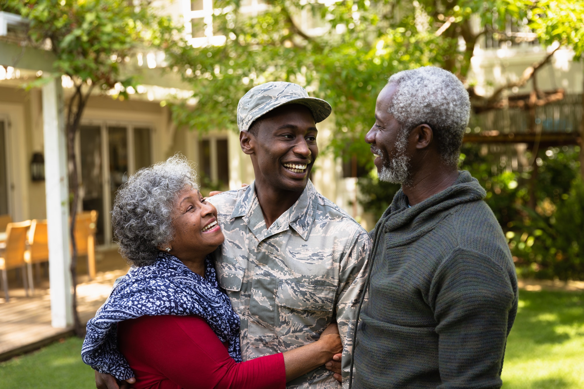 Soldier with parents